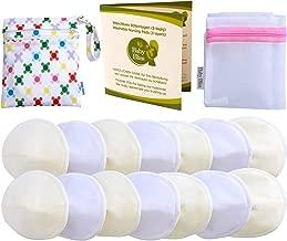 Baby Bliss Discos de Lactancia Lavables de Bambú   Pezoneras Absorbentes Hipoalergénicas y Reutilizables Protectoras de Pecho [Set de 14 con Bolsa de Viaje y Bolsa de Lavado] Blanco/Beige   Medio