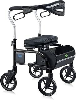 Evolution Lightweight Medical Walker Rollator with Seat, Large Wheels, Brakes, Backrest, Basket for Seniors Indoor Outdoor use