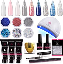 Makartt Nail Extension Gel Kit 30ml, Gel Builder Clear White Pink with 24W LED Nail Lamp and Glitter Powders Gorgeous Fren...