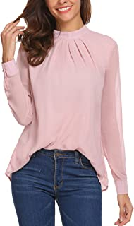 Long Sleeve Chiffon Blouse Women's Loose Casual Cuffed Sleeve Layered Tops