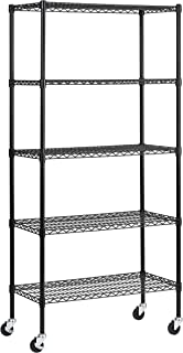Muscle Rack MWS361872-BLK 5 Shelf Black Wire Mobile Shelving Unit, 72