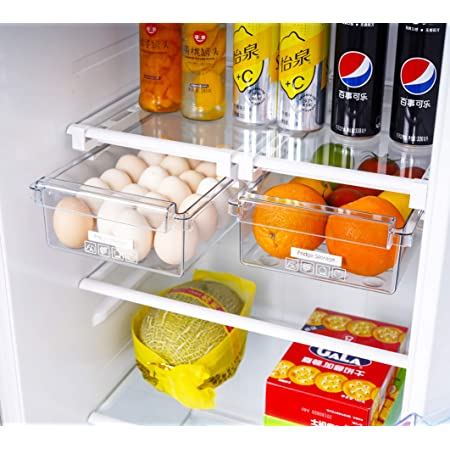 HapiLeap Fridge Drawer Organizer, Unique Design Pull Out Bins, Fridge Shelf Holder Storage Box, Small Size, Fit for Most Refrigerator (Small Size (2 Pack))