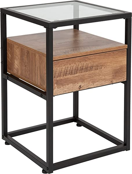 Taylor Logan Glass End Table With Drawer And Shelf In Rustic Wood Grain Finish