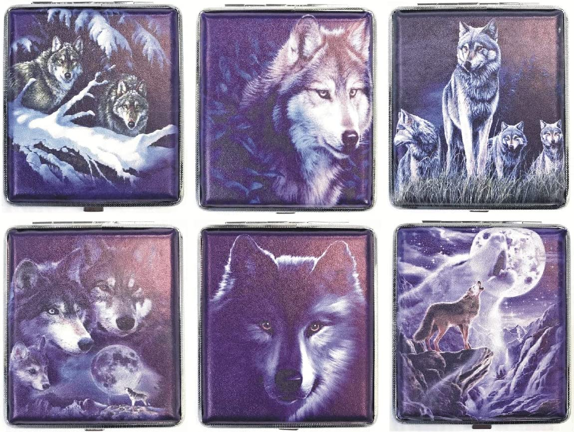 HHB Eclipse Wholesale Assorted Wolf Max 88% OFF Designs Leatherette Wrapped Metal Ciga