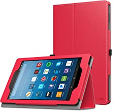 MoKo Case for All-New Amazon Fire HD 8 Tablet (7th/8th Generation, 2017/2018 Release) - Slim Folding Stand Cover for Fire HD 8, RED (with Auto Wake/Sleep)