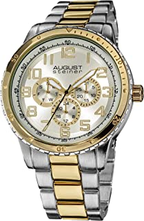 August Steiner Men's Sports Watch - Dial with Bold Numbers and Day of Week, Date, and 24 Hour Subdial ontainless Steel Bra...