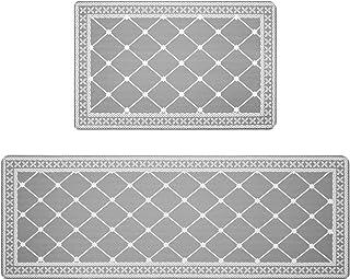 "HEBE Anti Fatigue Kitchen Rug Set 2 Piece Non Slip Cushioned Kitchen Floor Mat Waterproof Comfort Standing Kitchen Mat(18""..."