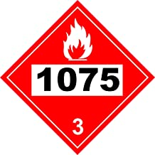 INDIGOS UG - Sticker - Safety - Warning - UN # 1075 Flammable Gas Class 2 Placard 273.05mmx273.05mm - Decal for Office - Company - School - Hotel