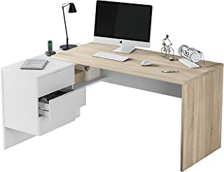 comprar comparacion Habitdesign 0F4655A - Mesa Office, Mesa despacho Ordenador Modelo BUC 3 cajones, Color Blanco Artik y Roble Canadian