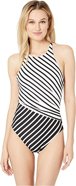 Stripe Mix High Neck One-Piece