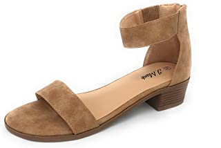 NAVIG8 Sole Collection Women's Strappy Ankle Heel Low Block Open Toe Sandal