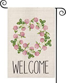 AVOIN Welcome Clover Flower Wreath St Patrick's Day Garden Flag Vertical Double Sided, Shamrock Yard Outdoor Decoration 12...
