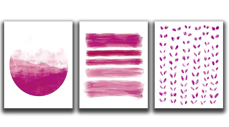 Pink Fuschia Super-cheap Wall Decor - Set shipfree UNFRAMED Fu of Prints 3-11x14