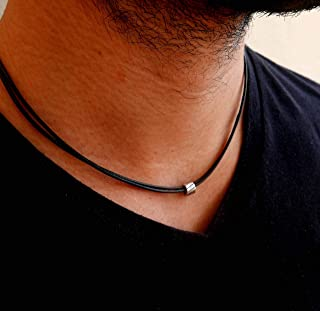 Handmade Black Fabric Necklace For Men Set With a Stainless Steel Bead By Galis Jewelry - Black Necklace For Men - Vegan Necklace For Men - Jewelry For Men