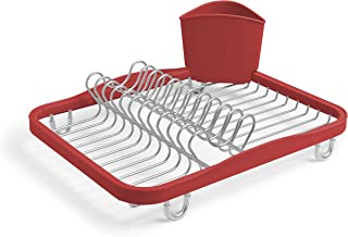 Umbra Sinkin Dish Drying Rack – Dish Drainer Kitchen Sink Caddy with Removable Cutlery Holder, Fits In Sink or on Countertop, Red