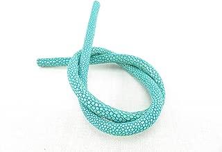 PELGIO Genuine Polished Stingray Skin Leather Round Cord for Bracelet Necklace Turquoise Blue (4 mm. x 45 cm.)