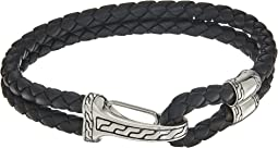 Classic Chain Hook Clasp Bracelet in Black Leather