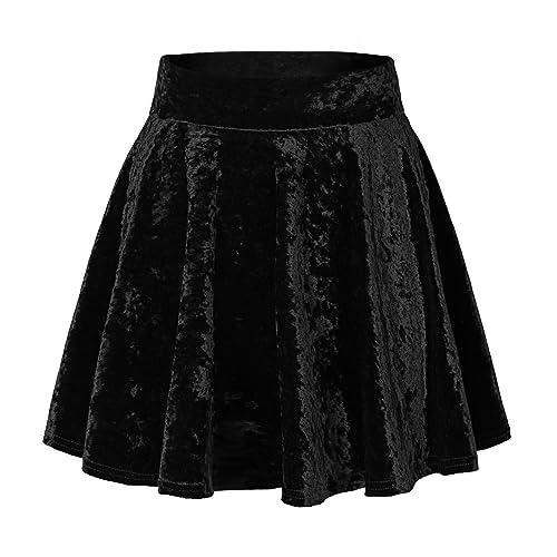 f52b0155c7 Urban CoCo Women's Vintage Velvet Stretchy Mini Flared Skater Skirt
