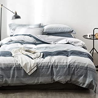 OREISE Duvet Cover Set Full/Queen Size 100% Cotton Bedding Set Gray Blue White Printed Striped Style,3Piece (1 Duvet Cover + 2 Pillowcase),Comfortable Luxurious Hypoallergenic