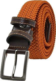 GreSel Cintura Intrecciata, Uomo Donna, in Tessuto Elastico Con Inserti in Vera Pelle, Made in Italy