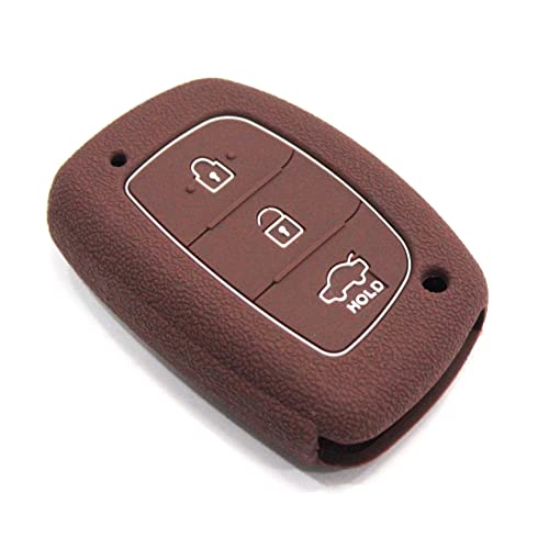 KEYZONE Silicone Cover Fit for: Creta, Elite, Active, Grand I10, Xcent, 4S Verna Smart Key (Brown)