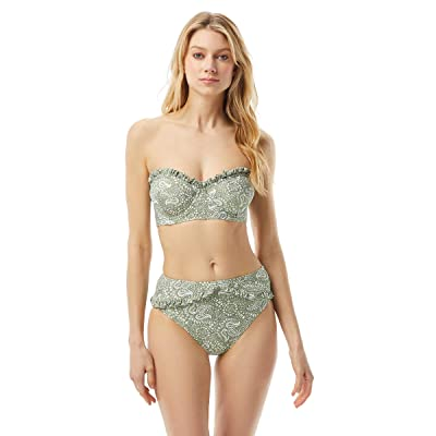 MICHAEL Michael Kors Paisley Appeal Ruffled Underwire Bandeau Top with Removable Strap (Army Green) Women