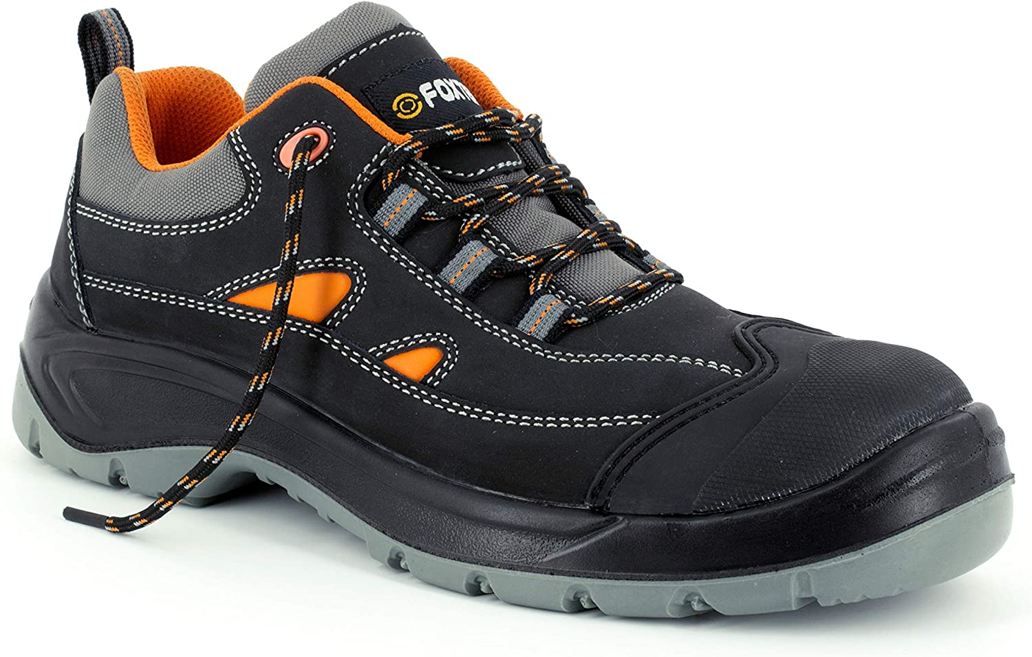 Foxter - Safety shoes   for Men   High Comfort   Work Trainers   Light   Waterproof   Metal Free   Leather Black   S3 SRC