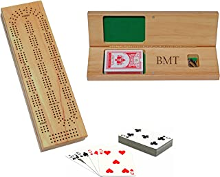 WE Games Custom Engraved Wooden Cribbage Set - 3 Track, Pegs, Cards, and Storage