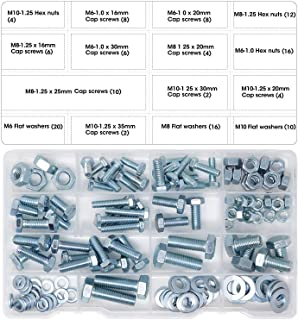 T.K.Excellent Hex Bolts M6 M8 M10 and Hex Nuts and Washers Set Kit,128 Pcs
