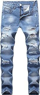 Sarriben Men's Stretch Fashion Skinny Slim Fit Jeans Ripped Black Denim Pants