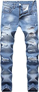 Men's Regular Straight Leg Casual Loose Fit Ripped Washed Denim Jeans Blue
