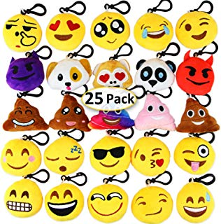 "Dreampark Emoji Keychain Mini Cute Plush Pillows, Halloween / Birthday Party Supplies Party Favors for Kids, Carnival Prizes for Kids Shool Classroom Rewards 2"" Set of 25"