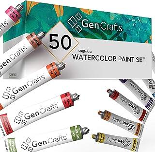GenCrafts Watercolor Paint Set - Set of 50 Premium Vibrant Colors - (12 ml, 0.406 oz.) - Quality Non Toxic Pigment Paints ...