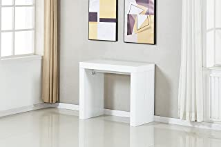 MiniMax Decor Extendable Space Saving Modern Dining Table, Transforms from a Console Table or Desk to a Large Dining Table That Seats Up to Twelve, by MiniMax Decor (White Gloss 2.0)