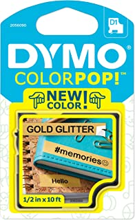 "DYMO COLORPOP! 标签制作胶带,1.27 cm 宽 x 304.8 cm 长,黑色金色闪光 1/2"" W x 10' L Black on Gold Glitter"