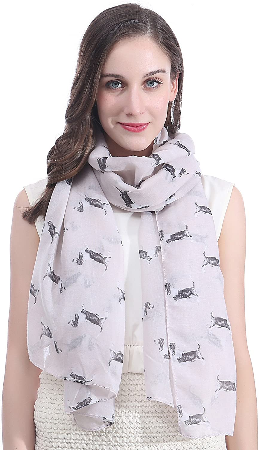 Lina Max 72% OFF Lily Basset Hounds Dogs half Gi Scarf Print Lightweight Large