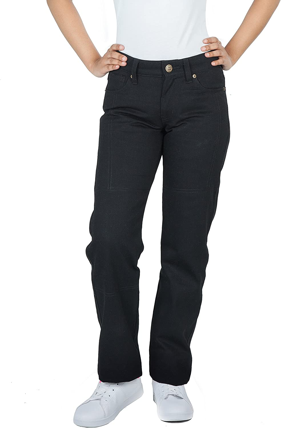Huxlay Bros HB Ladies Motorcycle Jeans, Aramid Kevlar Reinforced, Straight Fit, Free Predector, Black.