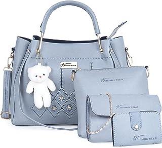 Shining Star Women's Handbag, Sling Bag, Clutch & Card Holder(Set of 4 Grey)