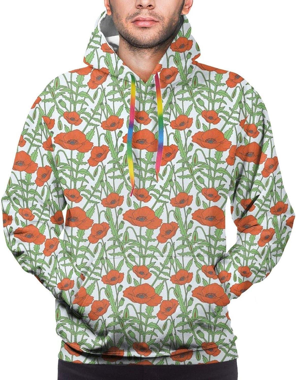 Men's Hoodies Sweatshirts,Flourishing Cherry Blossom Tree with Oriental Elements Abstract Nature