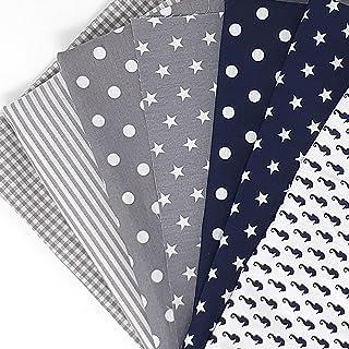 Sugarapple Baumwollstoff Stoffpaket für Patchwork DIY 7 Stücke je 50 cm x 70 cm, Stoff Mix Maritim - Dunkelblau  Grau Öko Tex Standard 101
