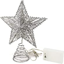 CVHOMEDECO. Silver Glittered 3D Tree Top Star with Warm White LED Lights and Timer for Christmas Ornaments and Holiday Sea...