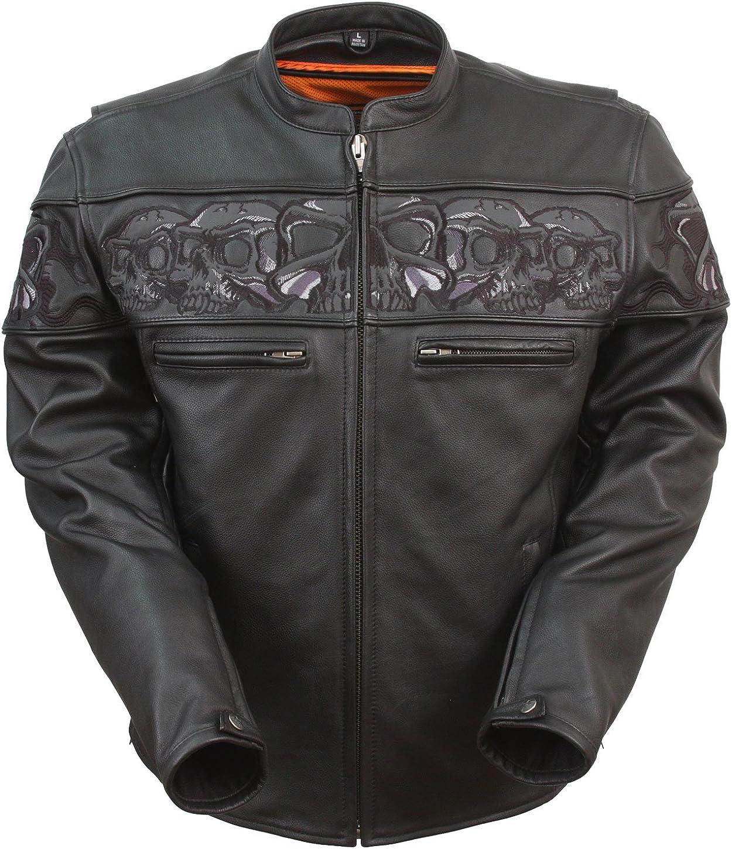 San Diego Leather Savage Skulls Sporty Scooter Jacket W/Reflective Skulls Mandarin Collar