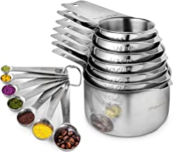Stainless Steel Measuring Cups and Spoons Set of 17 Pieces - 7 Nesting Cups and 7 Stackable Spoons - Durable Professional ...