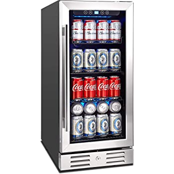 "Kalamera 15"" Beverage Cooler 96 can Built-in or Freestanding Touch Control Beverage Fridge with Blue Interior Light"