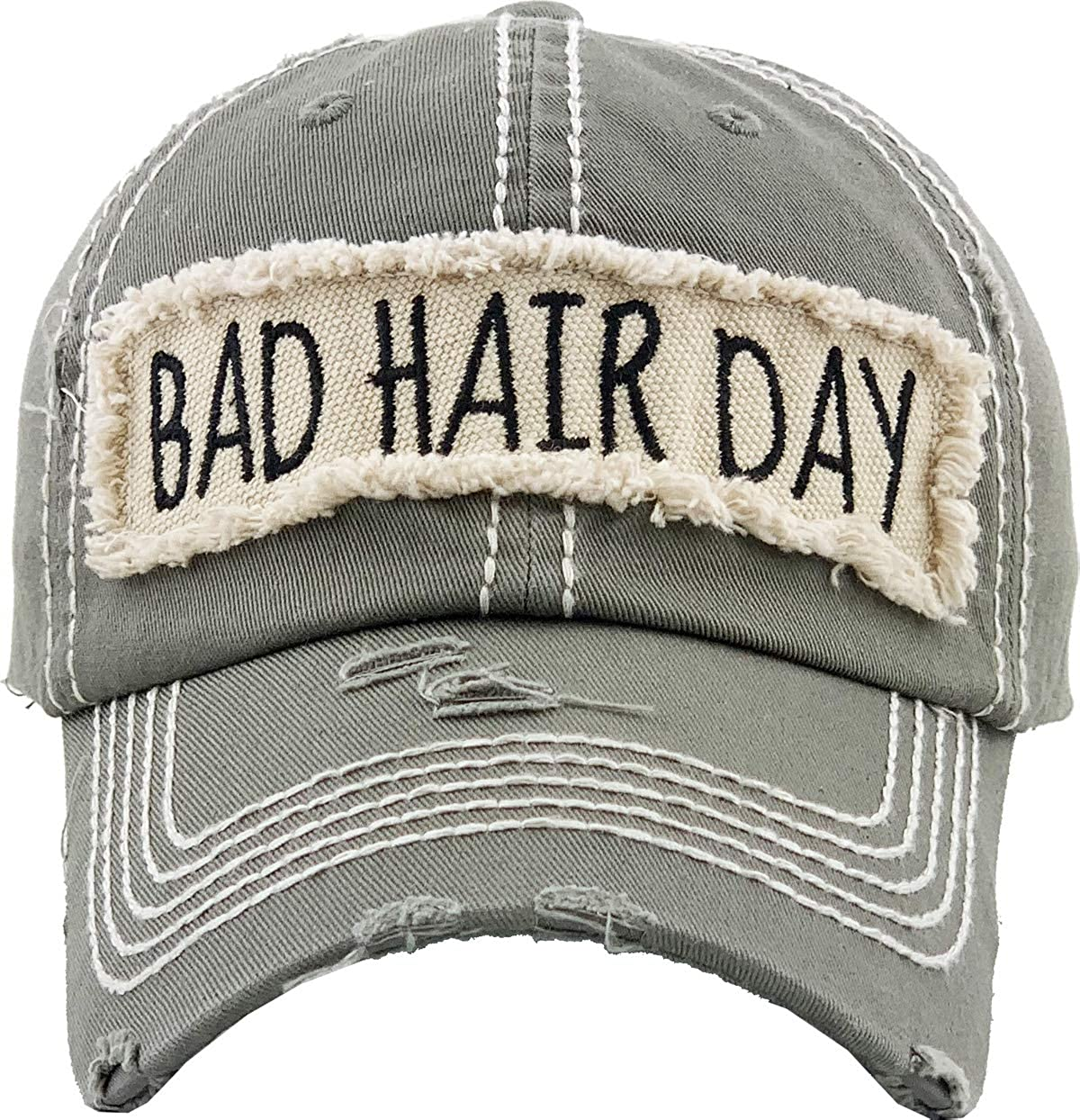 Bad Hair Day Vacation Beach Camping Womens Baseball Cap Distressed Vintage Unconstructed Embroidered Patch Hat