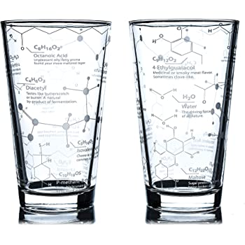Greenline Goods Beer Glasses - 16 oz Pint Glass (Set of 2) – Science of Beer Glassware - Etched with Beer & Hops Chemistry Molecules