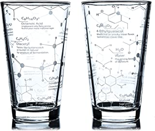 Greenline Goods Beer Glasses - 16 oz Pint Glass (Set of 2) – Science of Beer Glassware - Etched with Beer & Hops Chemistry...