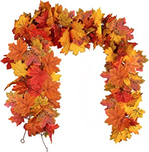 RECUTMS 2 Pcs Fall Garland Fall Leaves Garland Fall Decor Autumn Decor for Home Artificial Fall Foliage Garland Thanksgiving Decor for Home Wedding Fireplace Party