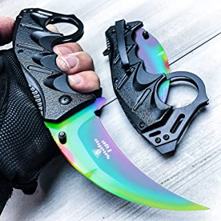 Snake Eye Tactical Everyday Carry Karambit Style Ultra Smooth One Hand Opening Folding Pocket Knife - Ideal for Recreational Work Hiking Camping
