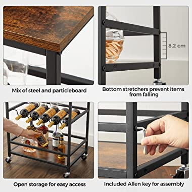 VASAGLE Bar Cart, Serving Cart with Wheels, Glass Stemware Rack and Wine Bottle Holders, 23.6 x 15.7 x 29.5 Inches, Industria
